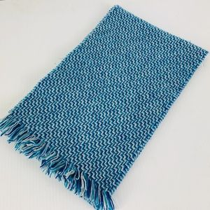 NWT Charter Club Blue Chevron Cashmere Scarf NEW